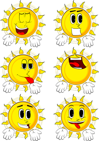 Cartoon sun showing something with both hands or expressing dont know gesture. Collection with happy faces. Expressions vector set. Illustration