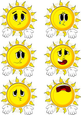 Die Karikatursonne, die etwas mit beiden Händen zeigt oder ausdrückt, kennen nicht Geste. Sammlung mit traurigen Gesichtern. Ausdrücke Vektor festgelegt. Standard-Bild - 90016915