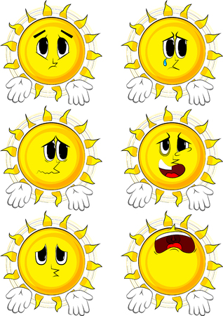 Cartoon sun showing something with both hands or expressing dont know gesture. Collection with sad faces. Expressions vector set.