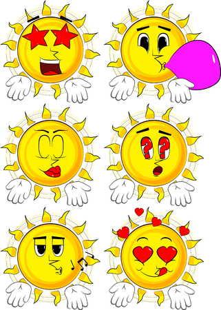 Cartoon sun showing something with both hands or expressing dont know gesture. Collection with various facial expressions. Vector set. Иллюстрация