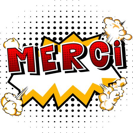 Merci - フランス語でありがとう - コミック スタイル word の抽象的な背景。