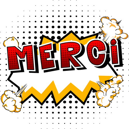 Merci - Thank You in French - Comic book style word on abstract background. 向量圖像