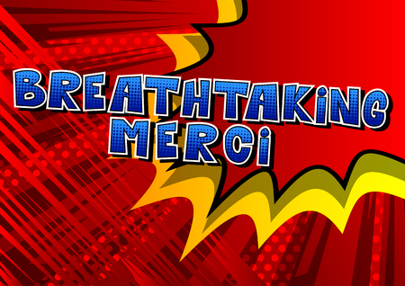 Breathtaking Merci - Thank You in French - Comic book style word on abstract background.