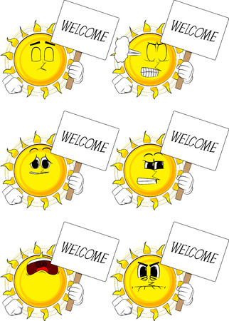 Cartoon sun holding a banner with welcome text. Collection with sad faces. Expressions vector set. Illustration