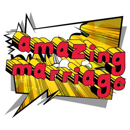 Verbazingwekkende huwelijk - Comic book stijl word op abstracte achtergrond. Stockfoto - 90227236