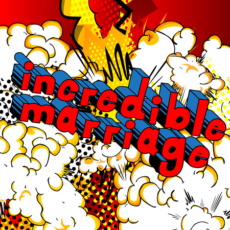 Incredible Marriage - Comic book style word on abstract background. Stock fotó - 90227239