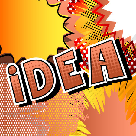 Idea - Comic book style phrase on abstract background. Ilustração