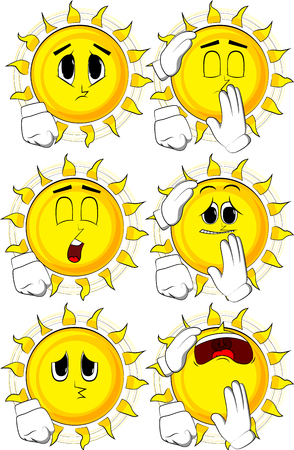 Cartoon sun comforting another sun. Collection with sad faces. Expressions vector set. Illustration
