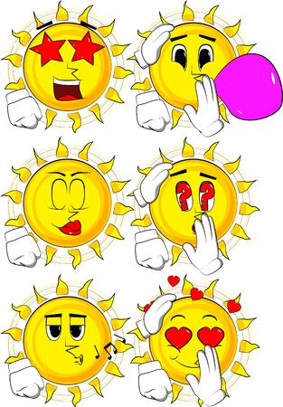 Cartoon sun comforting another sun. Collection with various facial expressions. Vector set.