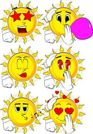 Cartoon sun comforting another sun. Collection with various facial expressions. Vector set.