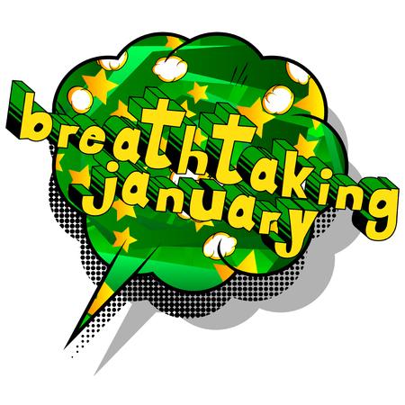 息をのむような1月 - 抽象的な背景に漫画本スタイルの単語。