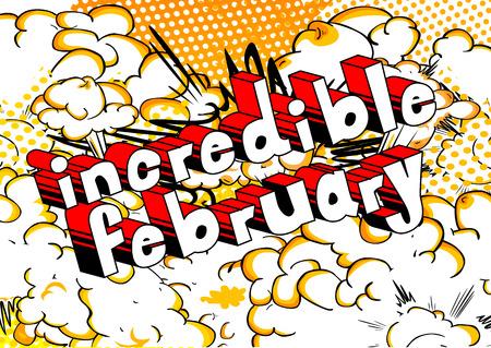 놀라운 2 월 - 추상적 인 배경에 만화 스타일 책 단어.