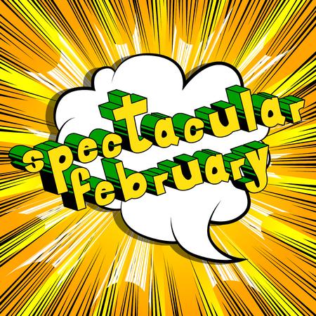장엄한 2 월 - 추상적 인 배경에 만화 스타일의 단어. 일러스트