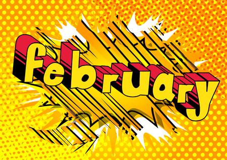 2月 - 抽象的な背景に漫画本スタイルの単語。  イラスト・ベクター素材