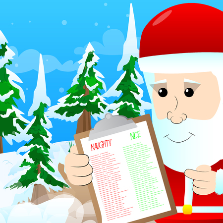 Santa Claus showing naughty or nice list vector cartoon character illustration. Иллюстрация