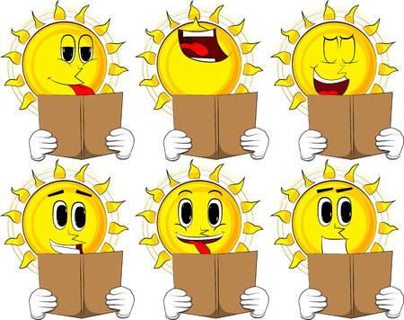 Cartoon sun reading a book collection with happy faces expressions vector illustration set.