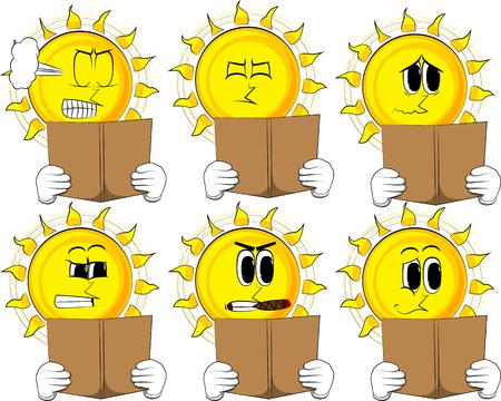 Soleil de dessin animé en lisant une collection de livres avec des expressions de visages triste vector illustration set Banque d'images - 90915742