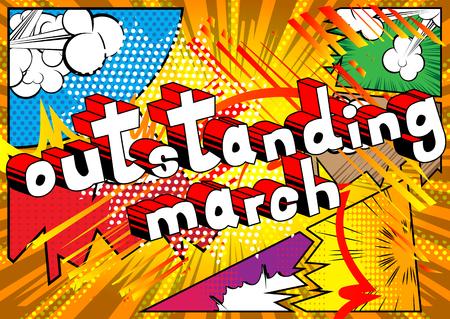 뛰어난 3 월 - 추상적 인 배경에 만화 스타일 단어.