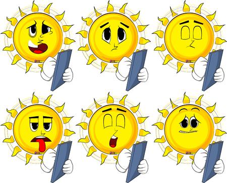 Set of cartoon sun with sad faces writing on a books cover.
