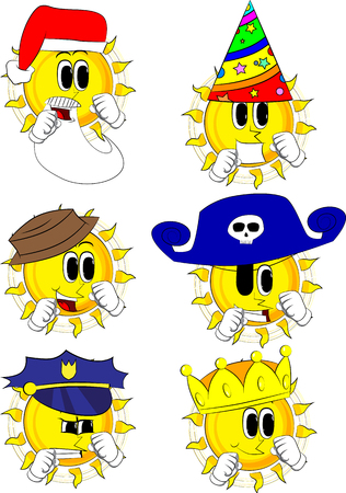 Cartoon sun holding his fists in front of him ready to fight. Collection with costume. Expressions vector set. Illusztráció