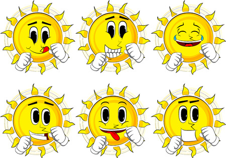Cartoon sun holding his fists in front of him ready to fight. Collection with happy faces. Expressions vector set. Ilustração