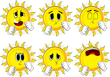 Cartoon sun holding his fists in front of him ready to fight. Collection with sad faces. Expressions vector set.