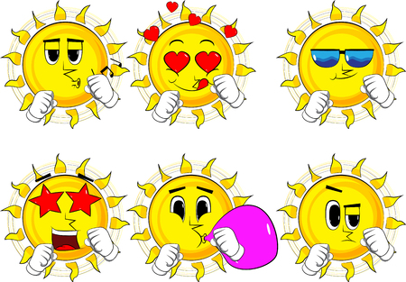 Cartoon sun holding his fists in front of him ready to fight. Collection with various facial expressions. Vector set.