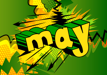 May - Comic book style word on abstract background. Ilustração