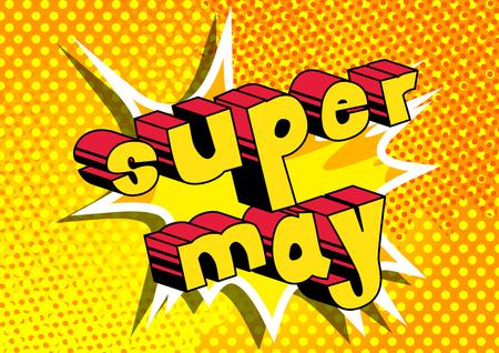 Super mag - het grappige woord van de boekstijl op abstracte achtergrond.