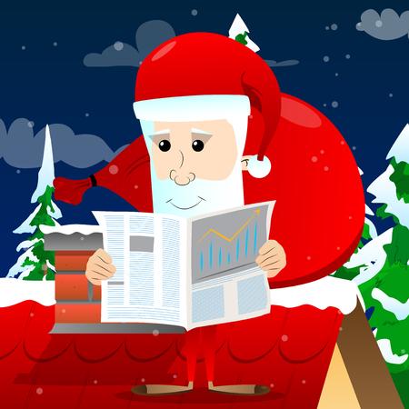 Santa Claus reading newspaper, Vector cartoon character illustration.