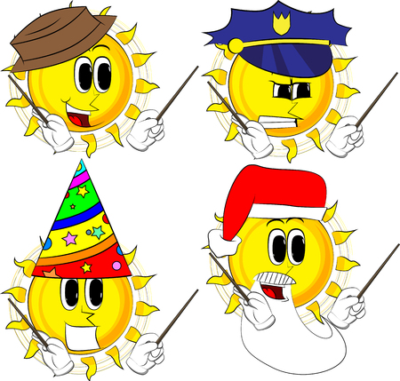 Cartoon sun orchestra conductor Collection with costume. Expressions vector set.