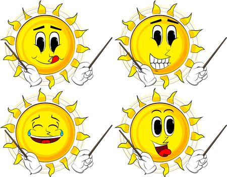 Cartoon Sonne Orchesterleiter. Sammlung mit glücklichen Gesichtern. Ausdrücke Vektor festgelegt. Standard-Bild - 90661924