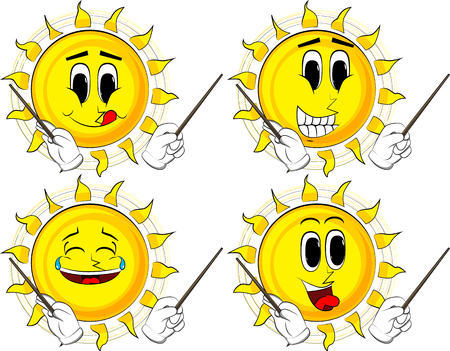 Cartoon sun orchestra conductor. Collection with happy faces. Expressions vector set. 일러스트