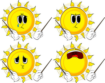 Cartoon sun orchestra conductor. Collection with sad faces. Expressions vector set. Illustration
