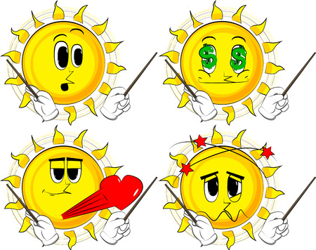 Cartoon sun orchestra conductor. Collection with various facial expressions. Vector set.
