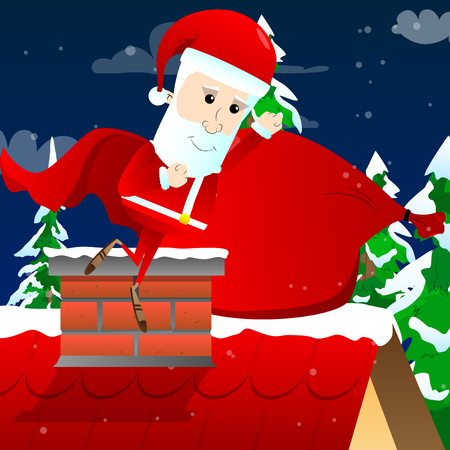 Santa Claus as a superhero, wearing a cape. Vector cartoon character illustration. Illustration
