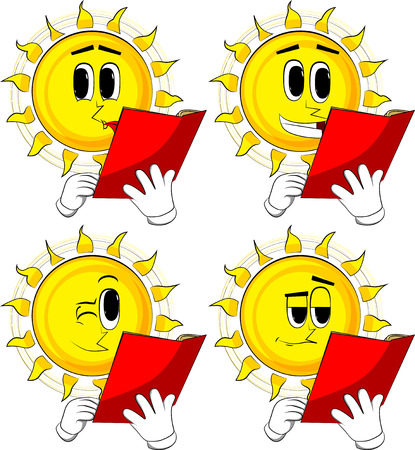 Cartoon sun reading a red book. Collection with happy faces. Expressions vector set.