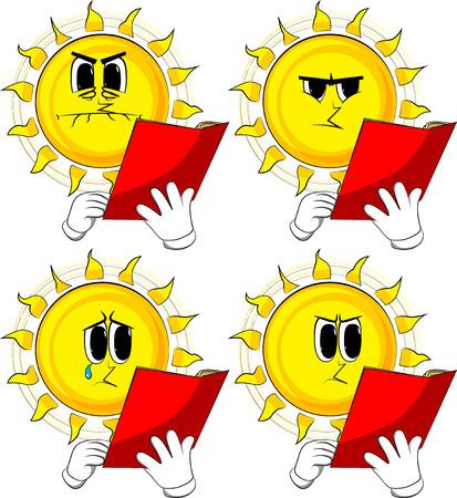 赤い本を読んで漫画の太陽。悲しい顔をしたコレクション。式ベクトル セット。