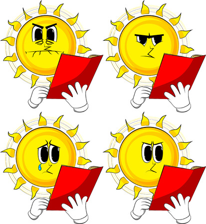 Cartoon sun reading a red book. Collection with sad faces. Expressions vector set. Ilustrace