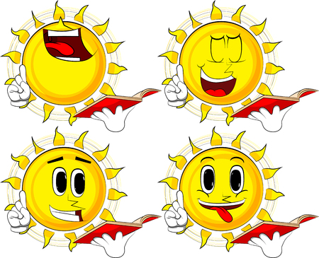 Cartoon sun reading a red book and making a point. Collection with happy faces. Expressions vector set.