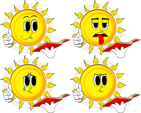 Cartoon sun reading a red book and making a point. Collection with sad faces. Expressions vector set. Ilustração