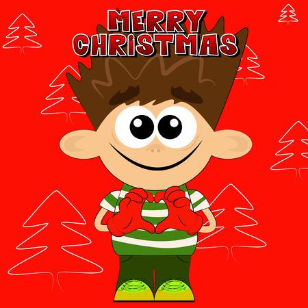 Vector cartoon boy with Merry Christmas text.