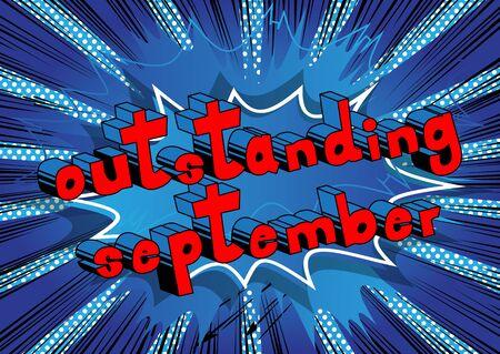 뛰어난 9 월 - 추상적 인 배경에 만화 스타일 단어.