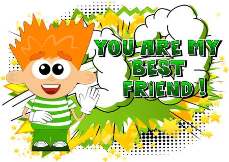 Cartoon jongen met You Are My Best Friend-tekst. Stockfoto - 90879680