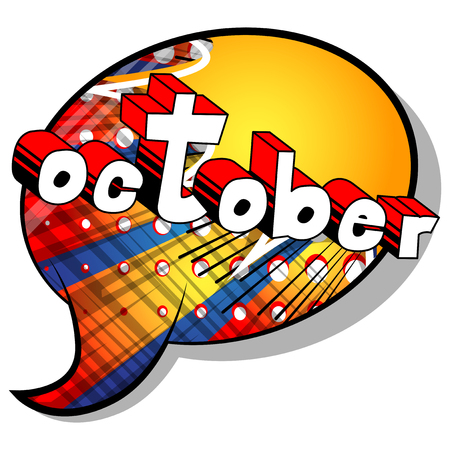 October - Comic book style word on abstract background. Vettoriali