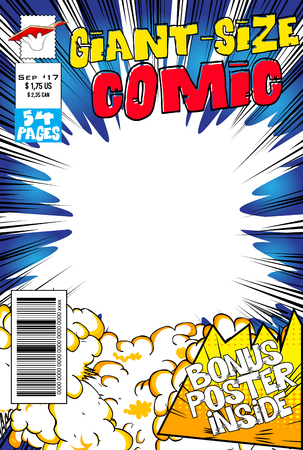 Editable comic book cover with blank explosion background. Reklamní fotografie - 90841760