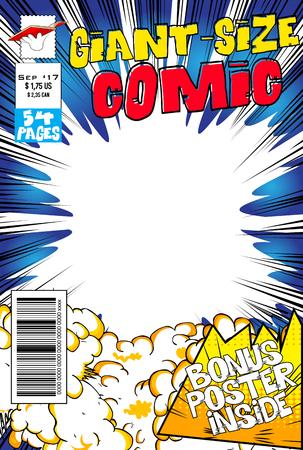 Bewerkbare stripboekomslag met lege explosieachtergrond.