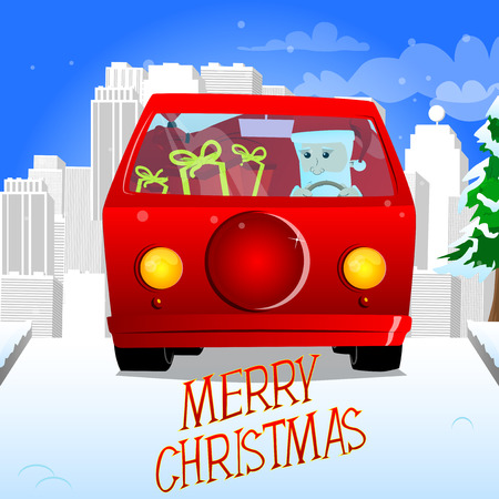 Santa Claus driving a red car. Vector cartoon character illustration. Illustration