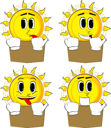 Cartoon sun reading book and hiding behind it. Collection with happy faces. Expressions vector set. Ilustração