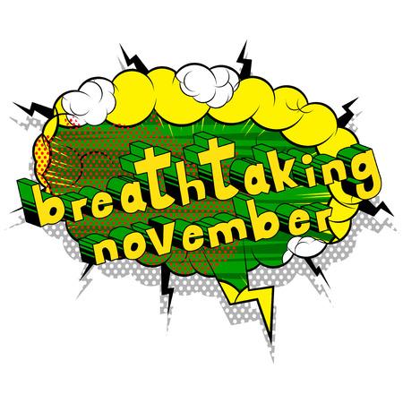 息をのむよう 11 月 - コミック スタイル word の抽象的な背景。  イラスト・ベクター素材